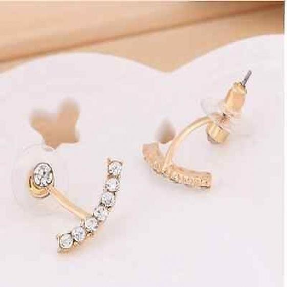 Fashion Crystal Earring - Ear Stud - Gold