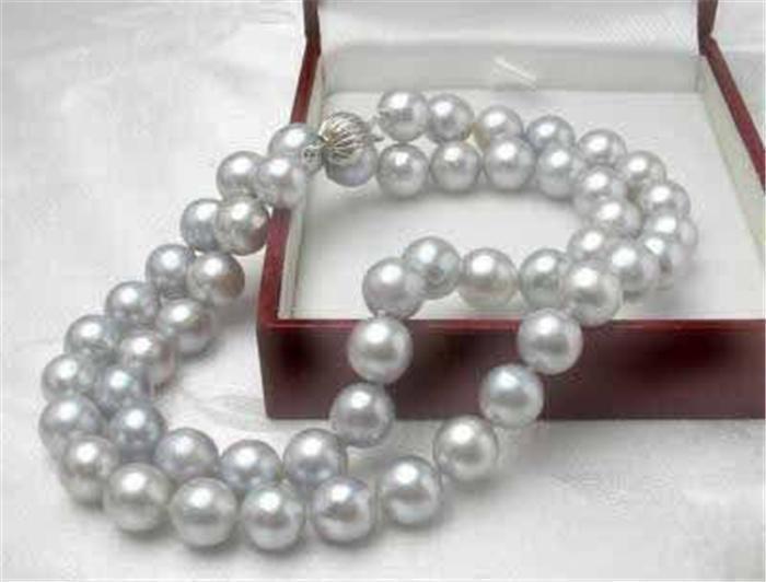 AAA 8mm Gray Akoya Sea Pearl Necklace 18''