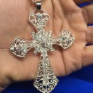 Beautiful Unisex .925 Silver Crystal Cross Pendant & Necklace