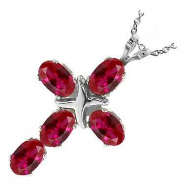 Unisex Cross Ruby  .925 Silver Pendant & Necklace