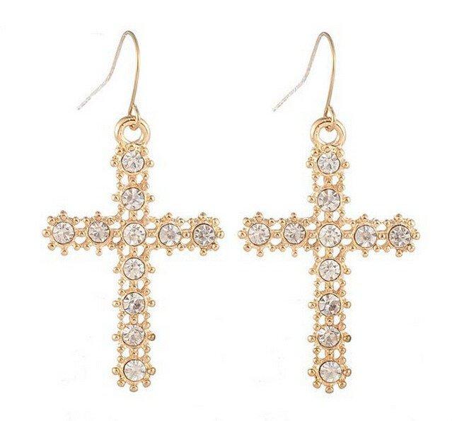 Cross 9K Gold Filled & Austrian Crystals Earrings French Hooks