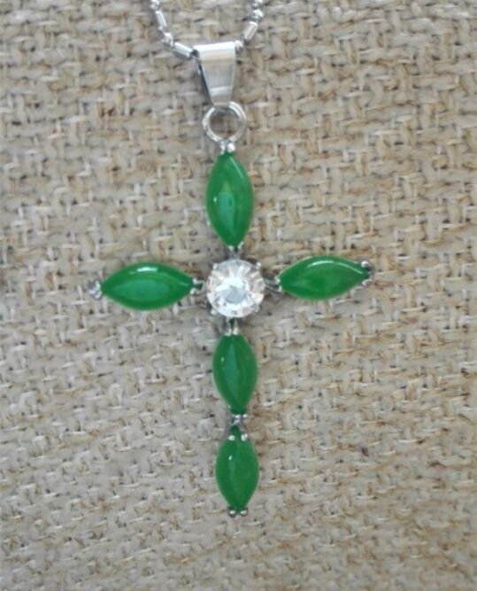 Green Jade & Crystal Cross Pendant and Necklace ~ .925 Silver