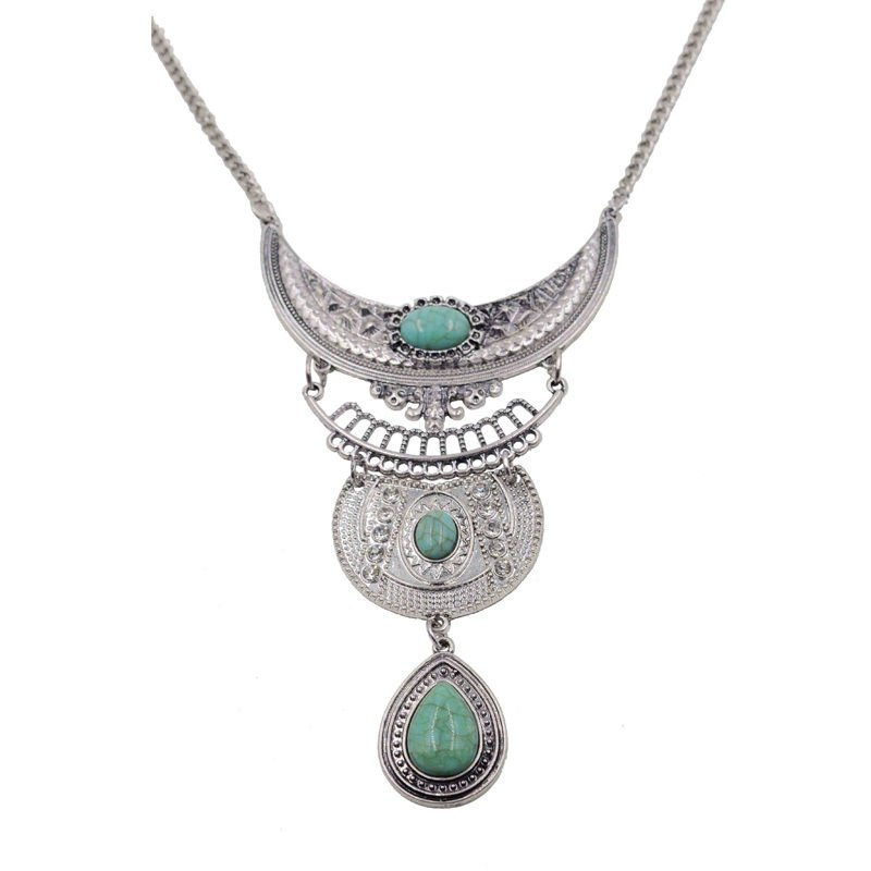 Turquoise Pendant & Necklace ~ Silver ~  24""