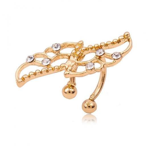 Ear Cuff Elegant Women Crystal 14k Gold Filled