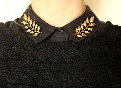 Golden Crossed Wheat Collar Brooch Pins