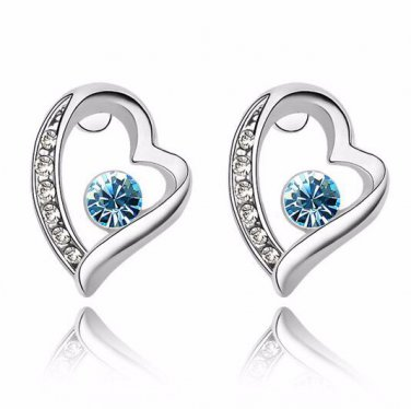 Earring Stud 9K White Gold Filled with AAA Aqua CZ's