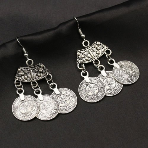 Silver Coin Tassel Earrings