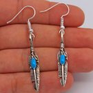 925 Silver Silver Hooks Indian Turquoise Feather Earrings