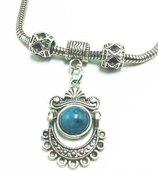 Silver Round Turquoise Charm Bracelet