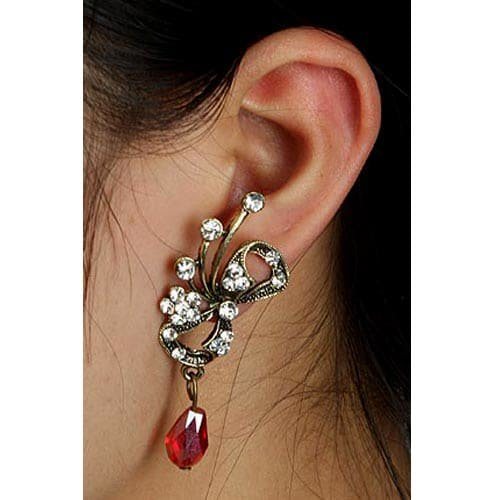 Crystal Bow & Flower Ear Cuff - Crystal Red Or Clear