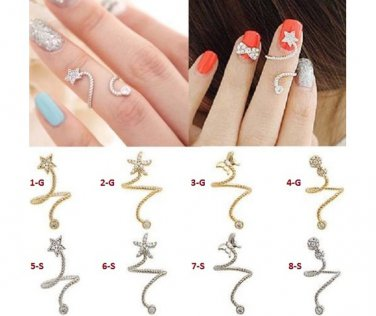 Finger Rings W/ Austrian Crystals Adjustable Gold Or Silver Tone