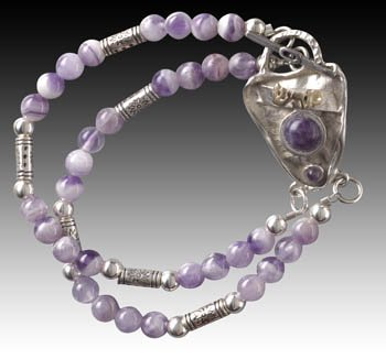 Beautiful Amethyst Kabbalah Bracelet  #40005