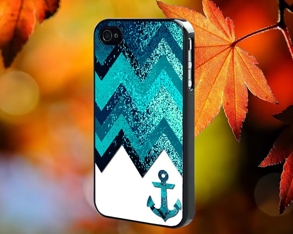 Navy Anchor Chevron for iPhone 4/4S,5,5c,5s & samsung galaxy S3,S4,S5 Case Hard Plastic Cover