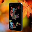 World Map Based Typography for iPhone 4/4S,5,5c,5s & samsung galaxy S3,S4,S5 Case Hard Plastic Cover