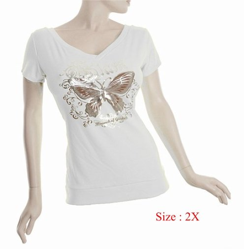Size 2X V-neck Top stretch T-shirt short sleeve, White (71-00536/2X)