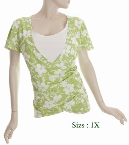 Size 1X V-neck surplice Top, short sleeve, Green (71-00216/1X)