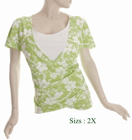 Size 2X V-neck surplice Top, short sleeve, Green (71-00236/2X)