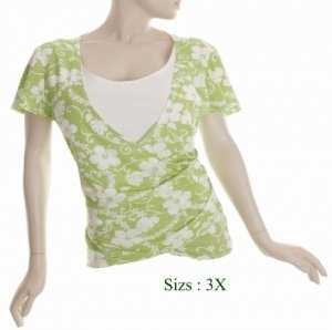 Size 3X V-neck surplice Top, short sleeve, Green (71-00256/3X)