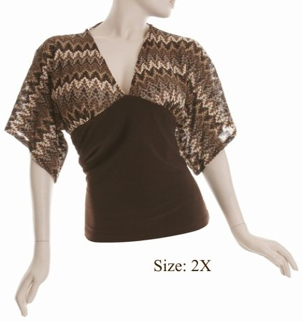Size 2X V-neck Kimono Top, 3/4 sleeve, Brown (71-00336/2X)