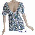 Size 1X Deep V-neck  Top, short sleeve, Blue (71-00416/1X)