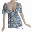 Size 2X Deep V-neck  Top, short sleeve, Blue (71-00436/2X)