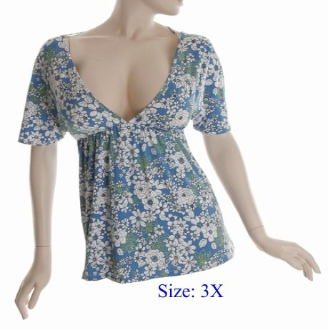 Size 3X Deep V-neck  Top, short sleeve, Blue (71-00456/3X)
