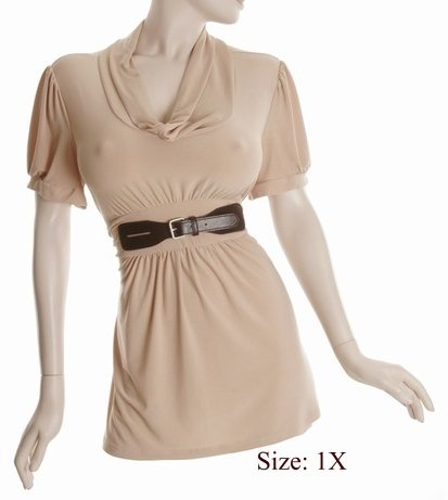 Size 1X Sq-neck  Top, short sleeve, Tan (71-00716/1X)