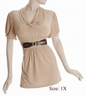 Size 1X Sq-neck  Top, short sleeve, Tan (71-00716/1X)