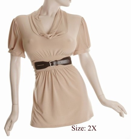 Size 2X Sq-neck  Top, short sleeve, Tan (71-00736/2X)