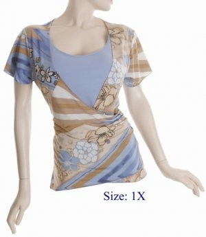 Size 1X V-neck  surplice Top, short sleeve, Blue/brown (71-00816/1X)