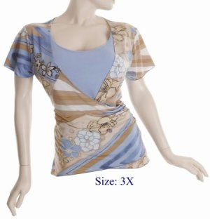 Size 3X V-neck  surplice Top, short sleeve, Blue/brown (71-00856/3X)