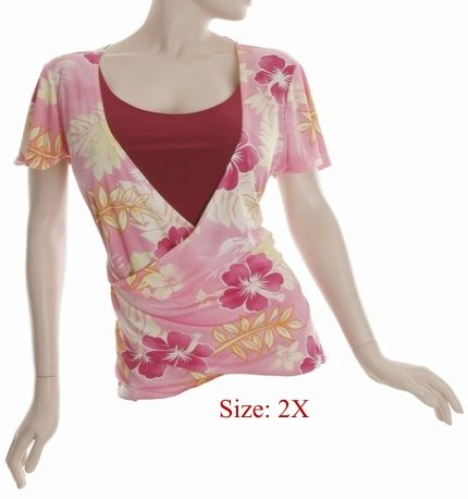 Size 2X V-neck  surplice Top, short sleeve, Pink (71-00936/2X)