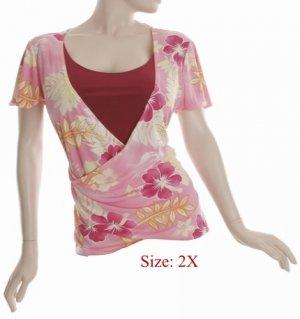Size 2X V-neck  surplice Top, short sleeve, Pink (71-00936/2X)