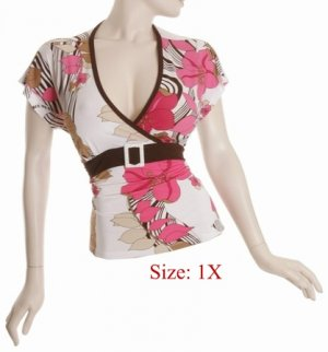 Size 1X V-neck  surplice Top, short sleeve w/button, Pink (71-01017/1X)