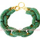 Green Chunky Crew Pave Classic Link Chain Bracelet