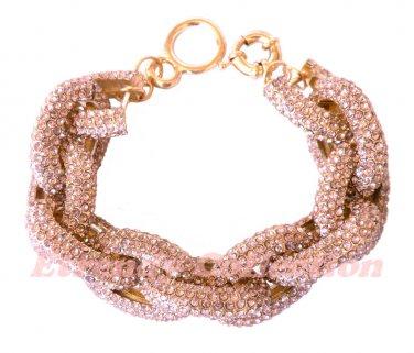Light Amethyst Chunky Crew Pave Classic Link Chain Bracelet