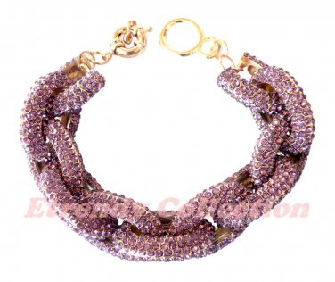 Amethyst Chunky Crew Pave Classic Link Chain Bracelet