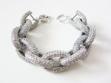 Silver Chunky Crew Pave Classic Link Chain Bracelet