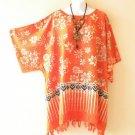 Orange Kimono Floral Plus Size Caftan Kaftan Tunic Poncho Top - 2X, 3X, 4X & 5X