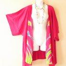 CB28 Pink Plus Size Cardigan Duster Jacket Kimono Cover up - 2X, 3X, 4X & 5X
