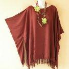 Solid Brown Kimono Plus Size Caftan Kaftan Tunic Blouse Top - XL, 1X, 2X & 3X