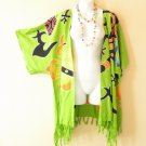 CB210 Green Plus Size Cardigan Duster Jacket Kimono Cover up - 2X, 3X, 4X & 5X