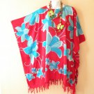 Red & Blue Plus Size Floral Caftan Kaftan Tunic Blouse Top - XL, 1X, 2X & 3X