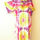 KD16 Tie Dye Kimono Plus Size Kaftan Tunic Hippy Maternity Dress - up to 5X