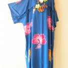 KD123 Blue Kimono Plus Size Batik Caftan Tunic Hippy Dress -2X, 3X, 4X & 5X