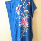 Blue Handpainted Floral Plus Size Caftan Kaftan Maxi Dress - 1X, 2X, 3X & 4X