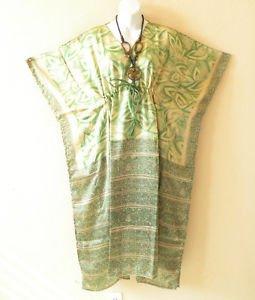 K114 Vintage Green Shimmery Silk Kaftan Batwing Dolman Empire Dress - M to 2X