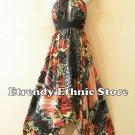 1D103 - Versatile Floral Silk Multi Wear Scarf Long Maxi Halter Dress Maternity