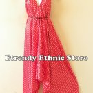 2D101 - Polka Dot Red & White Silk Multi Wear Scarf  Maxi Halter Dress Maternity