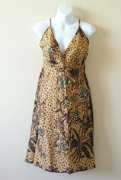 Brown Batik Floral Printed Embroidered Sequins Long Top / Blouse & Dress - XS